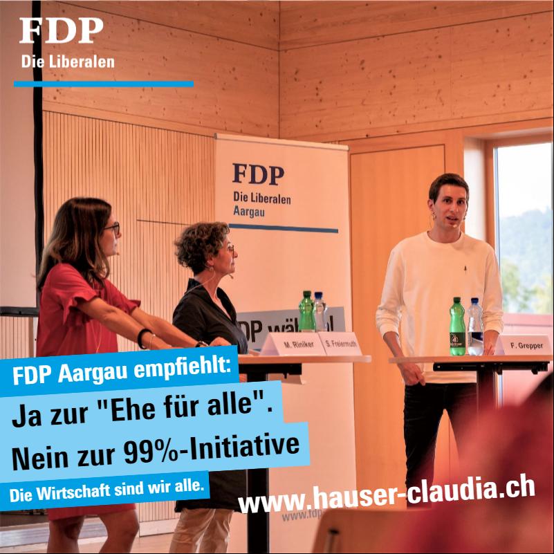 """Parteitag in Kleindöttingen empfiehlt klar Ja zur """"Ehe für alle"""" und Nein zur 99%-Initiative."""