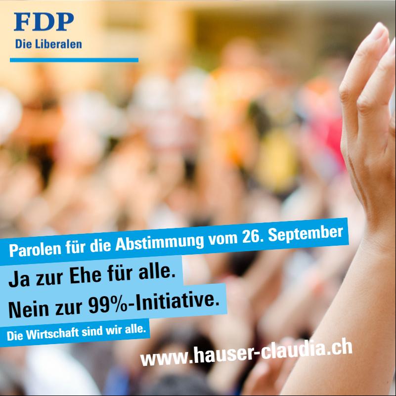 Medienmitteilung FDP Schweiz - Klare Parolen für die Abstimmung vom 26. September 2021